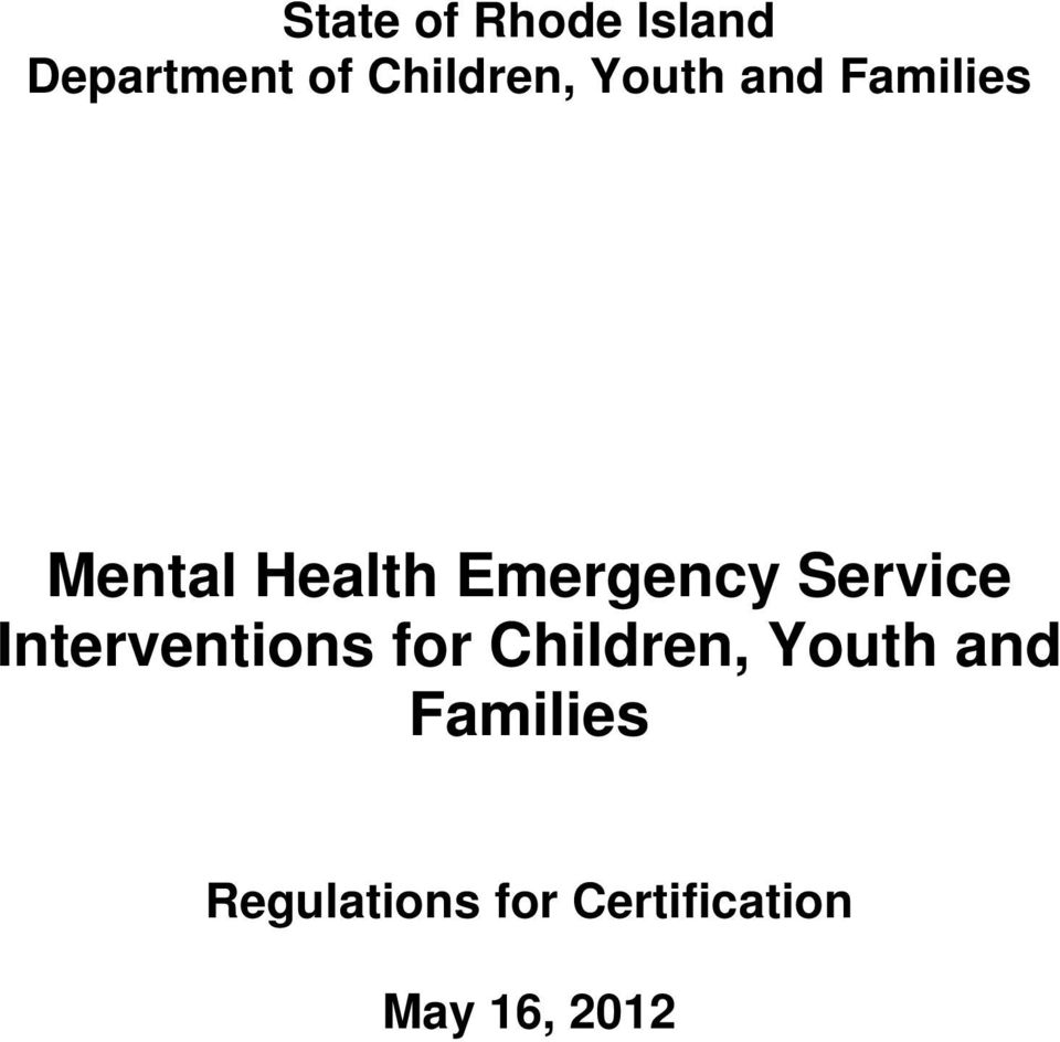 Service Interventions for Children, Youth and