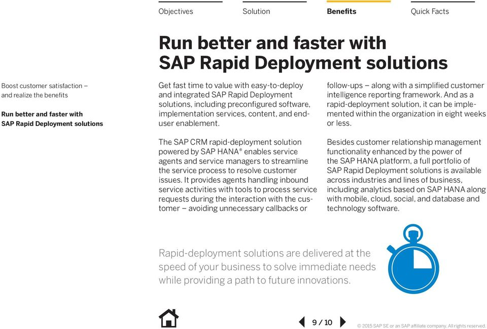 The SAP CRM rapid-deployment solution powered by SAP HANA enables service agents and service managers to streamline the service process to resolve customer issues.