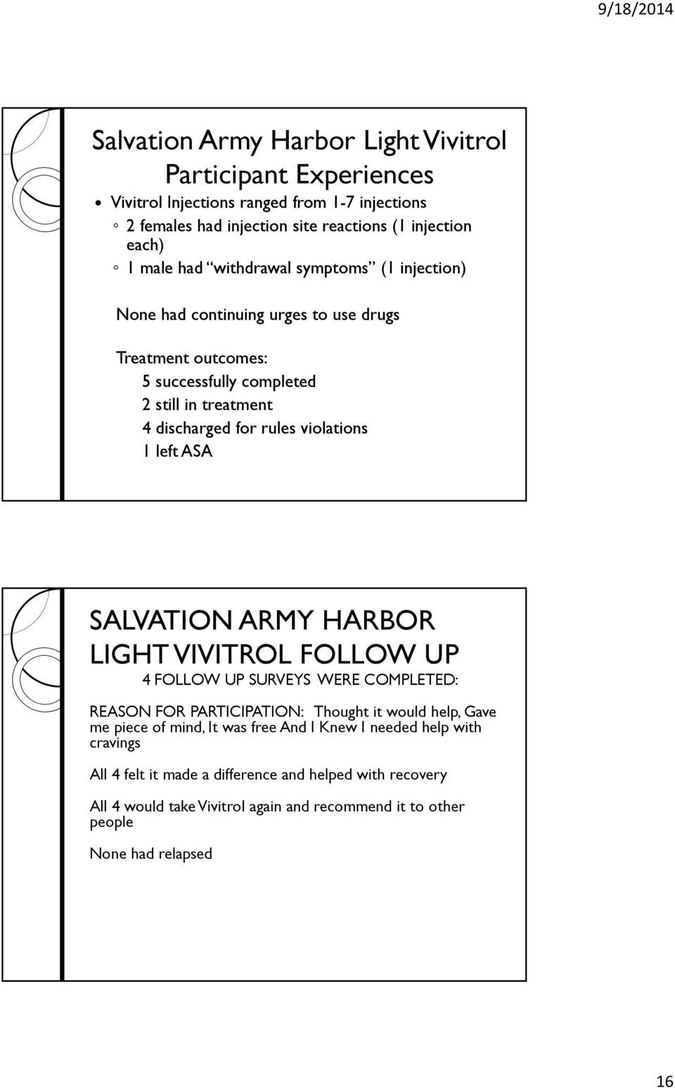 left ASA SALVATION ARMY HARBOR LIGHT VIVITROL FOLLOW UP 4 FOLLOW UP SURVEYS WERE COMPLETED: REASON FOR PARTICIPATION: Thought it would help, Gave me piece of mind, It was free