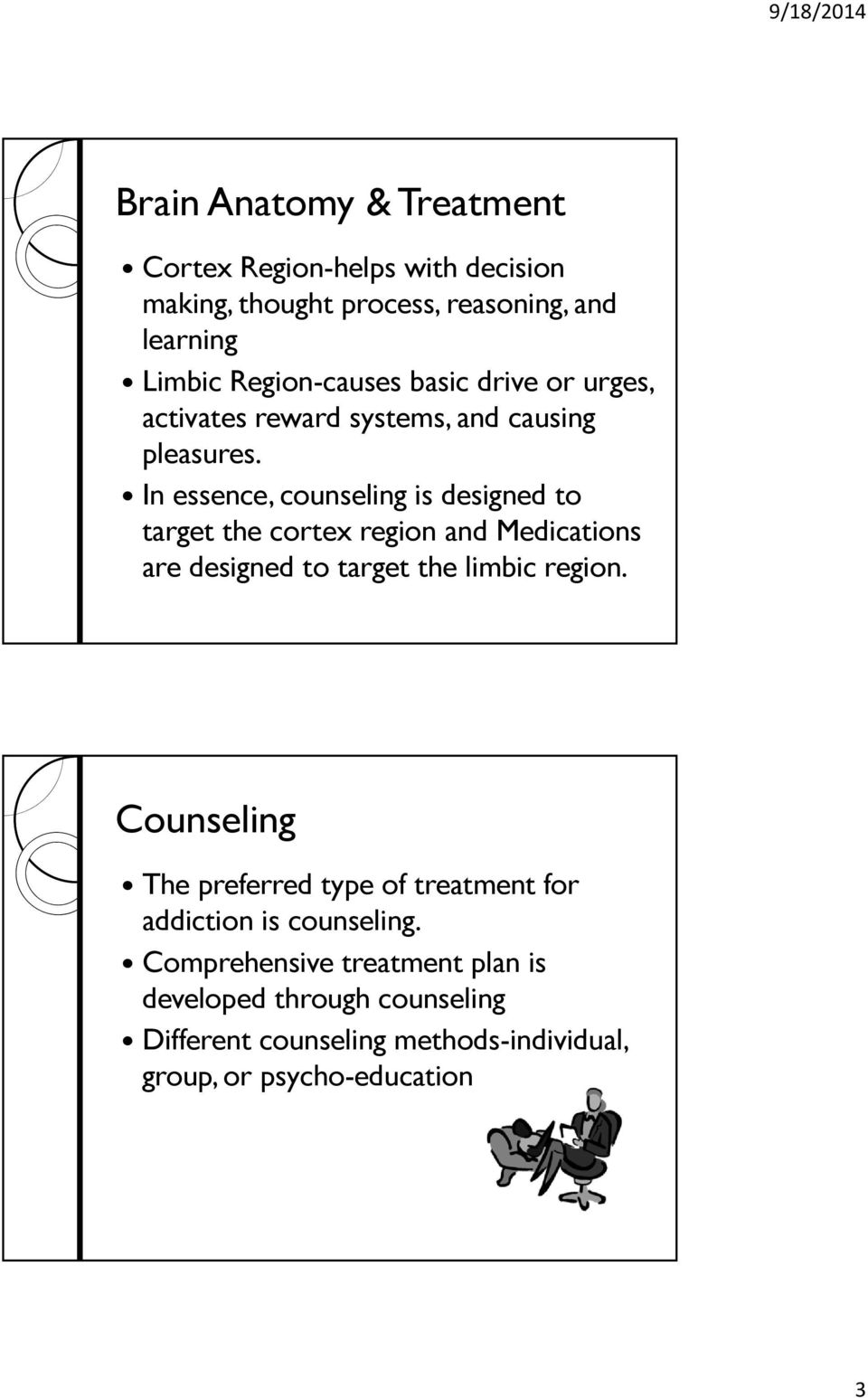 In essence, counseling is designed to target the cortex region and Medications are designed to target the limbic region.
