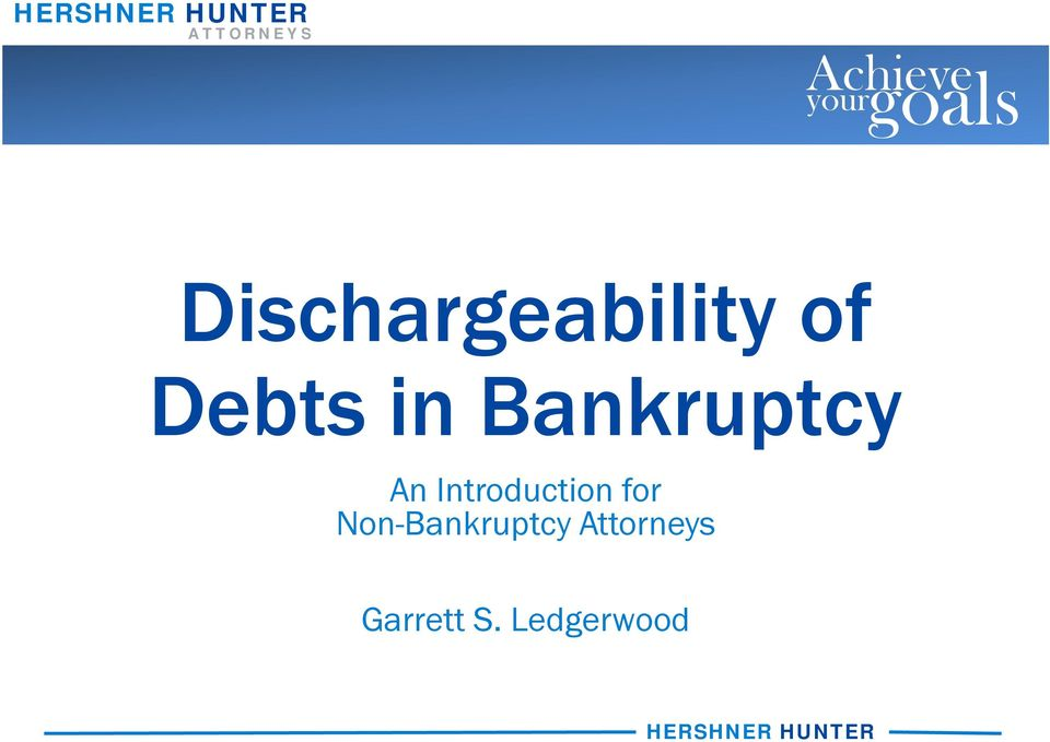 Bankruptcy An Introduction for