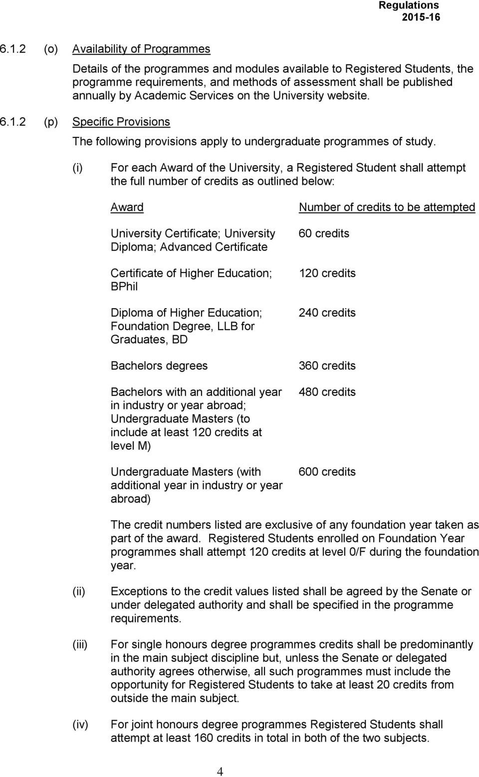 (i) For each Award of the University, a Registered Student shall attempt the full number of credits as outlined below: Award University Certificate; University Diploma; Advanced Certificate