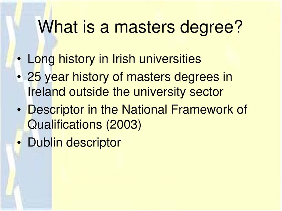 masters degrees in Ireland outside the university