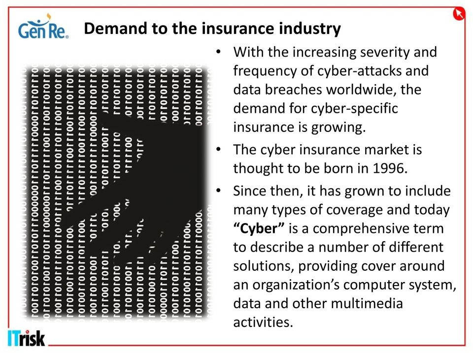 The cyber insurance market is thought to be born in 1996.