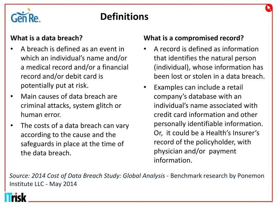 What is a compromised record? A record is defined as information that identifies the natural person (individual), whose information has been lost or stolen in a data breach.
