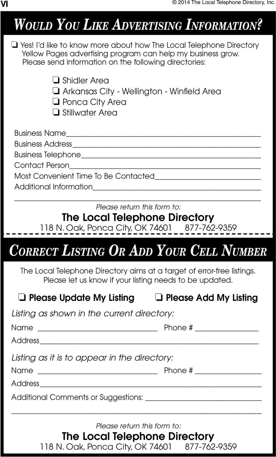 Person Most Convenient Time To Be Contacted Additional Information Please return this form to: The Local Telephone Directory 118 N.