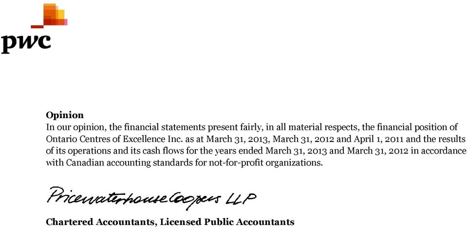 as at and the results of its operations and its cash flows for the years ended March 31, 2013 and
