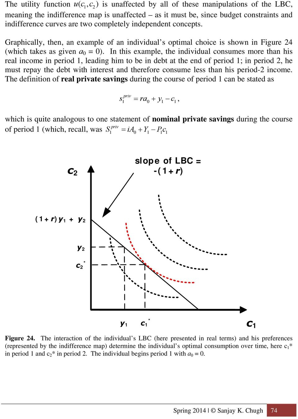 In this example, the individual consumes more than his real income in period, leading him to be in debt at the end of period ; in period, he must repay the debt with interest and therefore consume