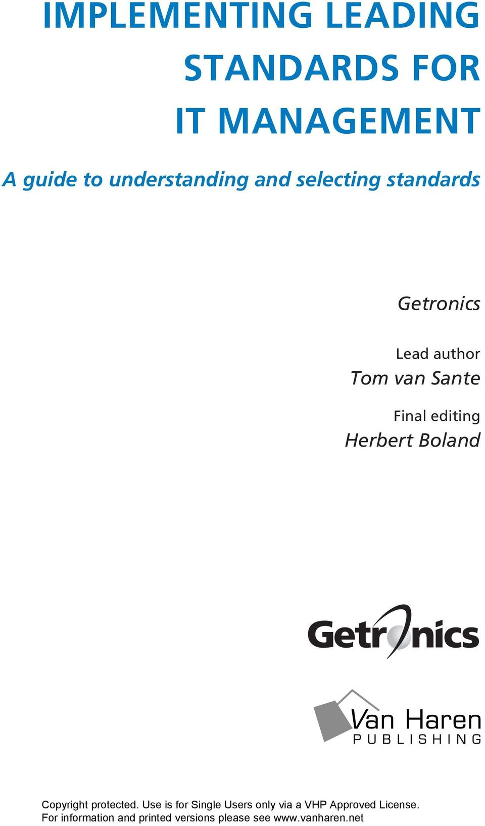selecting standards Getronics Lead