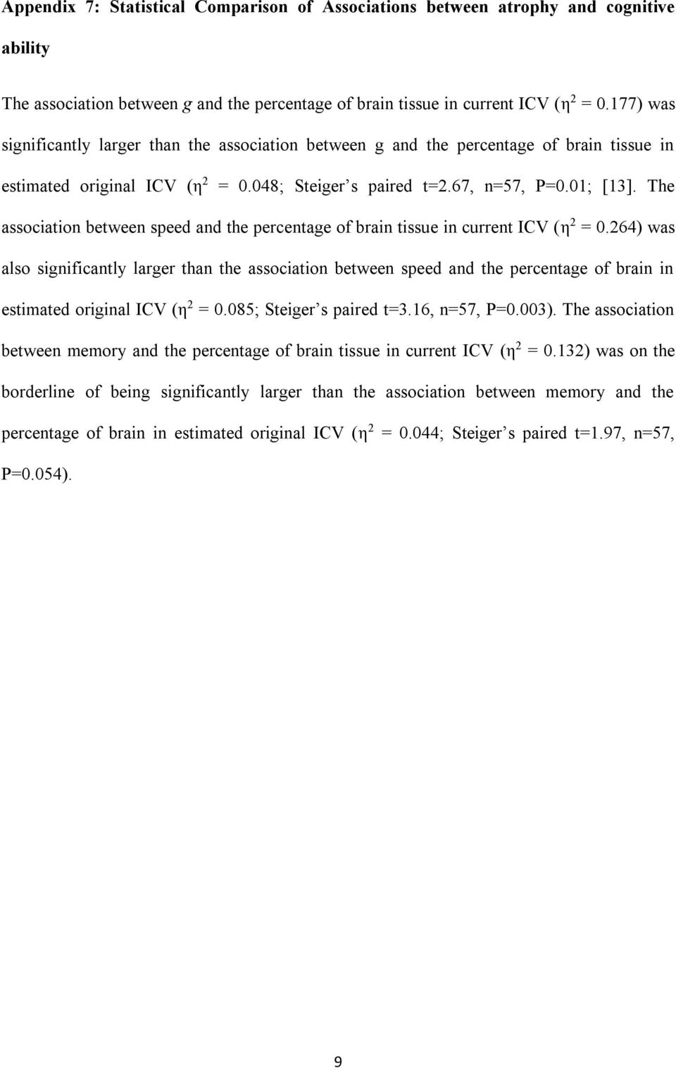 The association between speed and the percentage of brain tissue in current ICV (η 2 = 0.