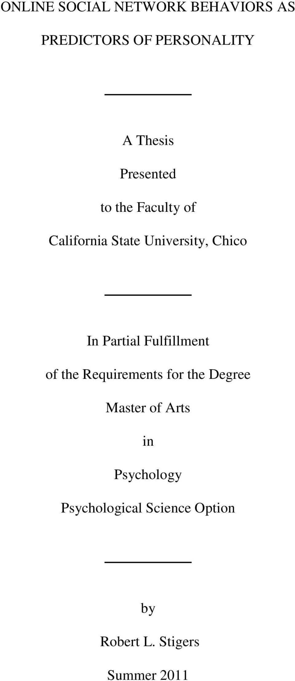 Partial Fulfillment of the Requirements for the Degree Master of Arts