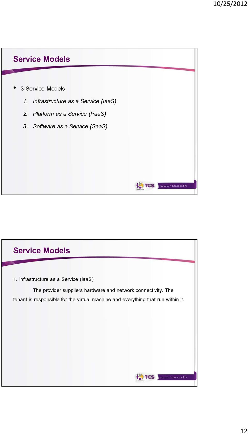 Infrastructure as a Service (IaaS) The provider suppliers hardware and network