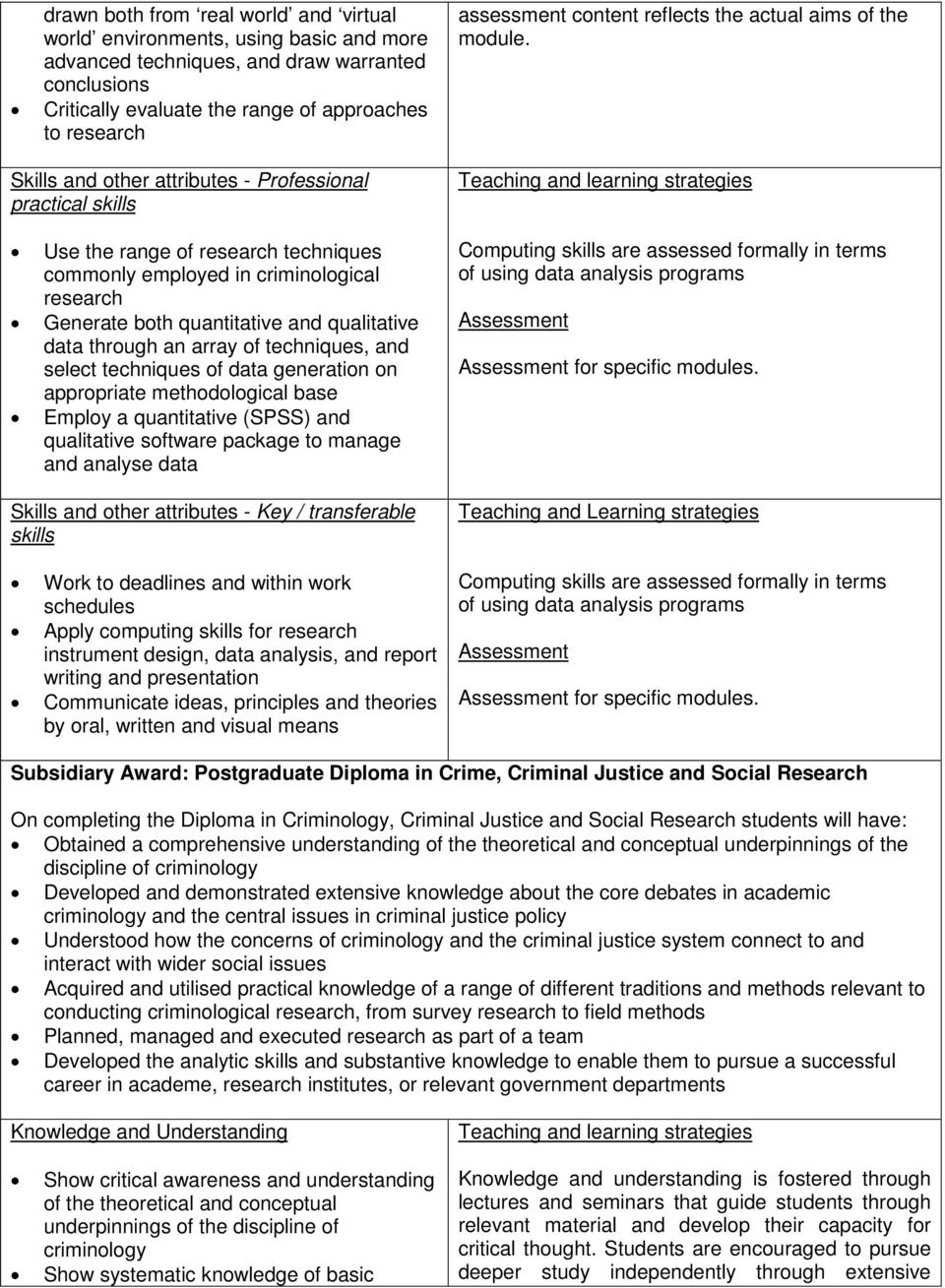 techniques of data generation on appropriate methodological base Employ a quantitative (SPSS) and qualitative software package to manage and analyse data Skills and other attributes - Key /