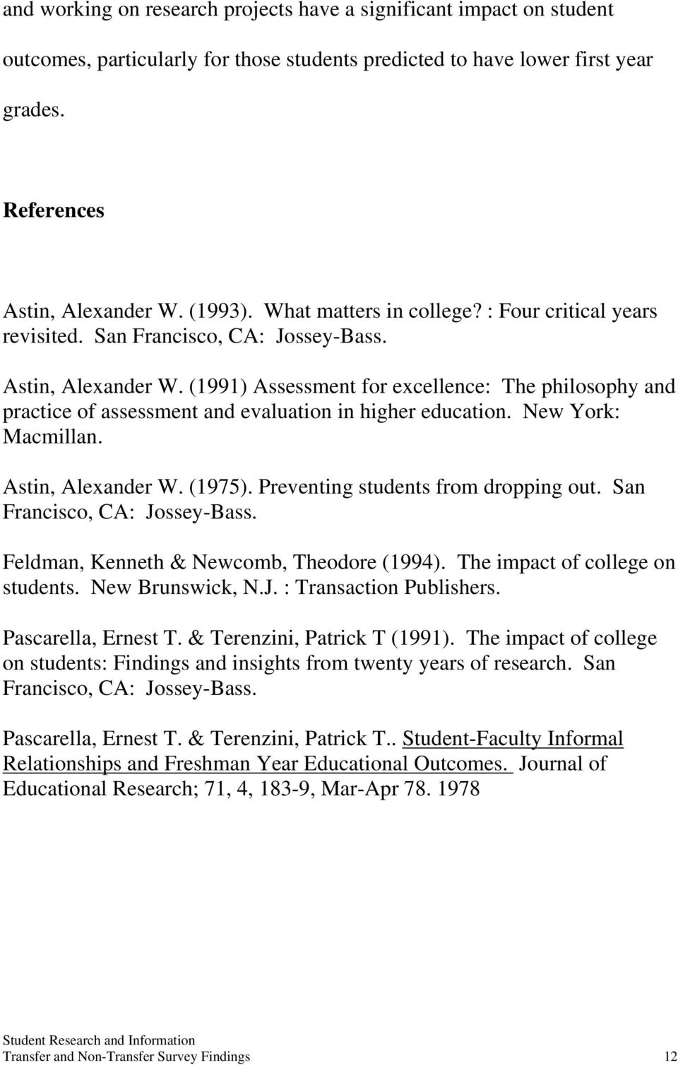 (1991) Assessment for excellence: The philosophy and practice of assessment and evaluation in higher education. New York: Macmillan. Astin, Alexander W. (1975). Preventing students from dropping out.