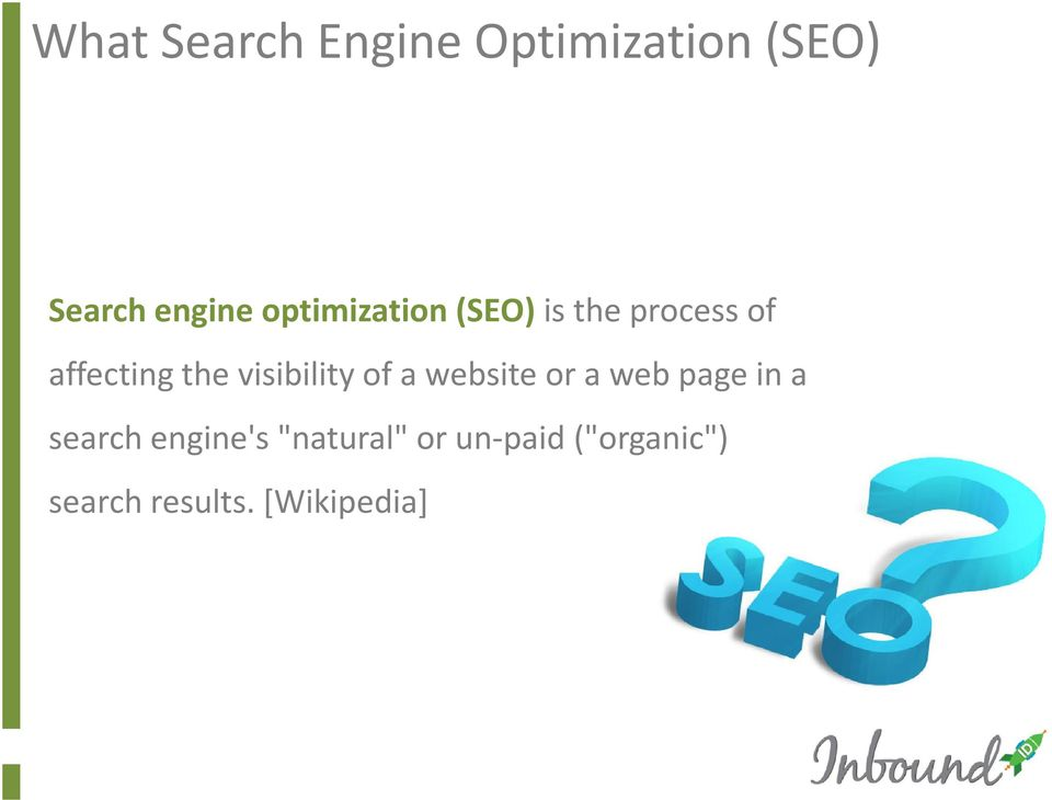 visibility of a website or a web page in a search