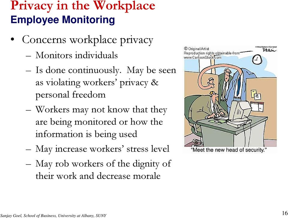 May be seen as violating workers privacy & personal freedom Workers may not know that they