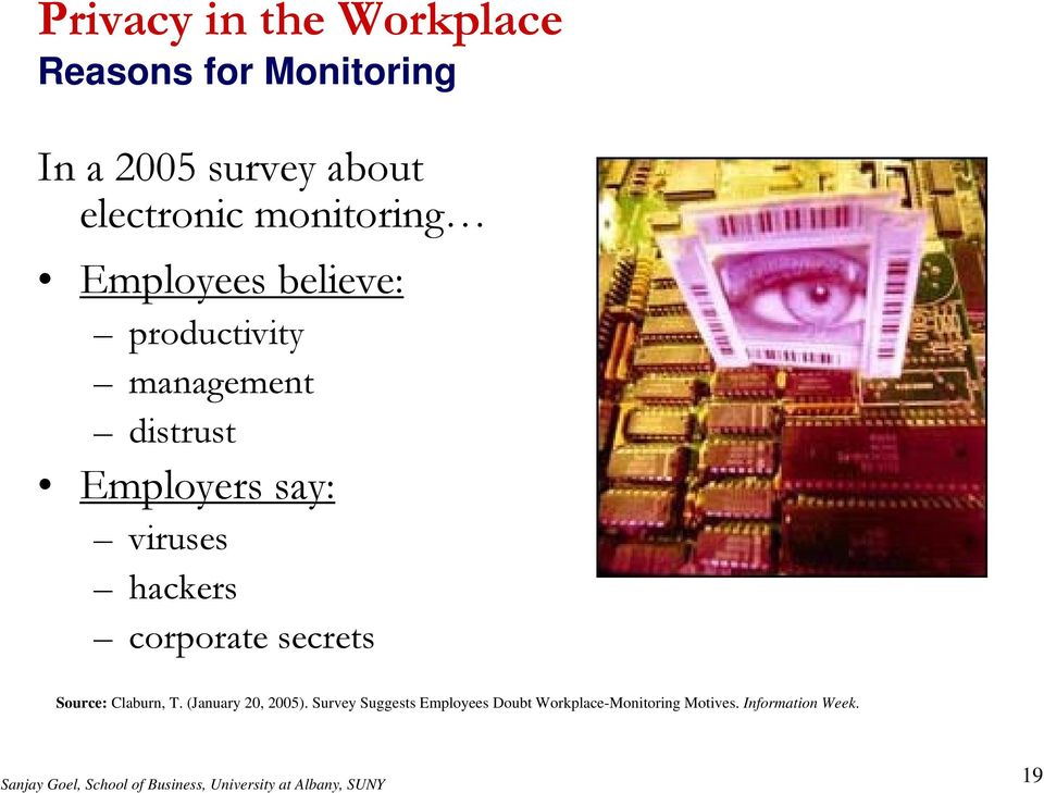 Employers say: viruses hackers corporate secrets Source: Claburn, T.