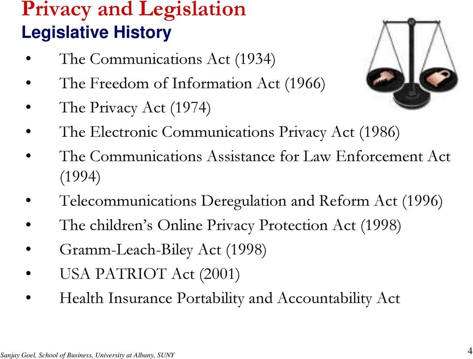 Enforcement Act (1994) Telecommunications Deregulation and Reform Act (1996) The children s Online Privacy