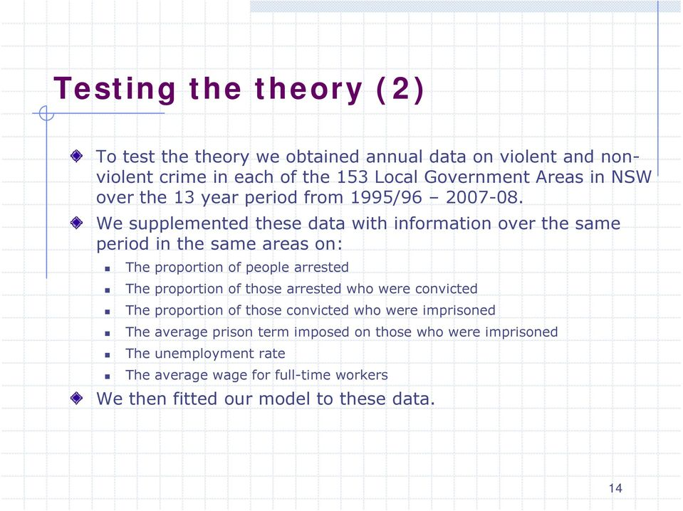 08 We supplemented these data wth nformaton over the same perod n the same areas on: The proporton of people arrested The proporton of those