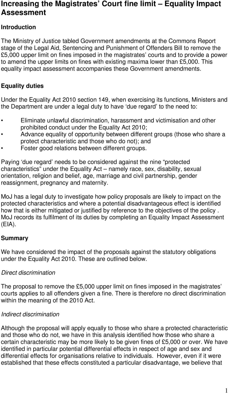 This equality impact assessment accompanies these Government amendments.