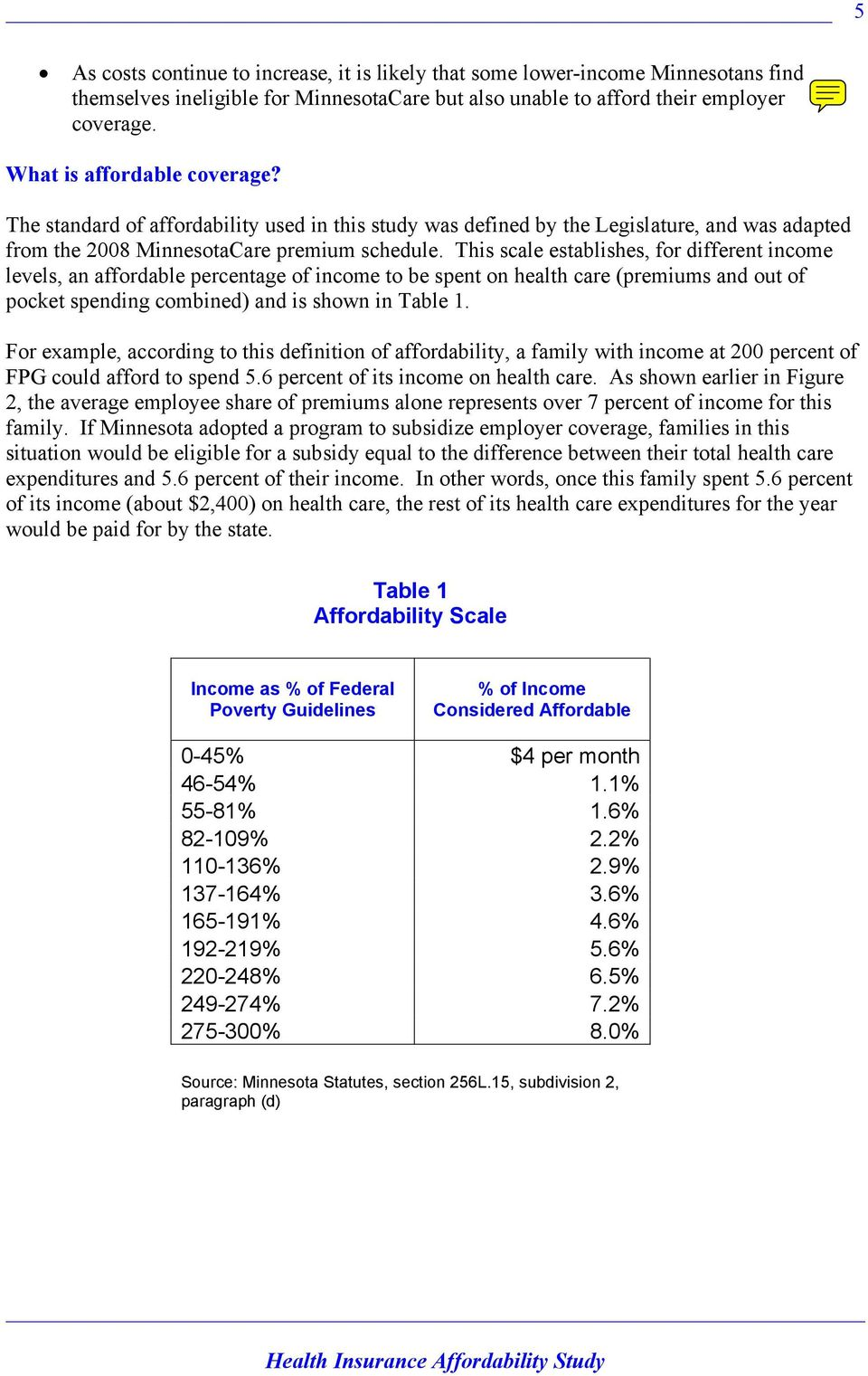 This scale establishes, for different income levels, an affordable percentage of income to be spent on health care (premiums and out of pocket spending combined) and is shown in Table 1.