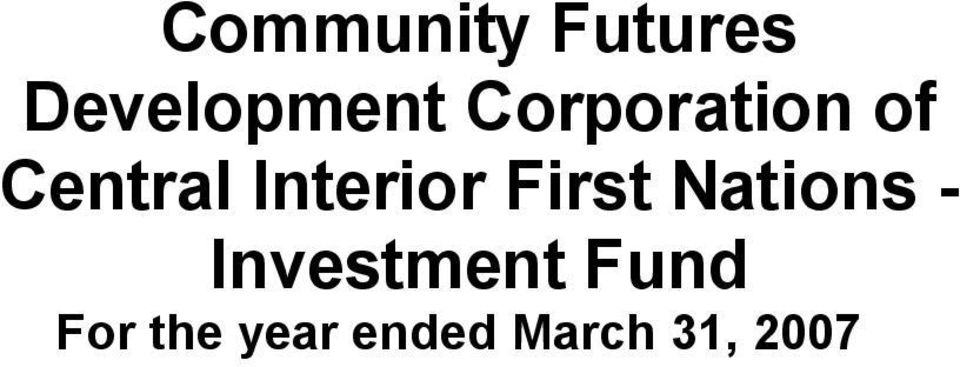 First Nations - Investment Fund