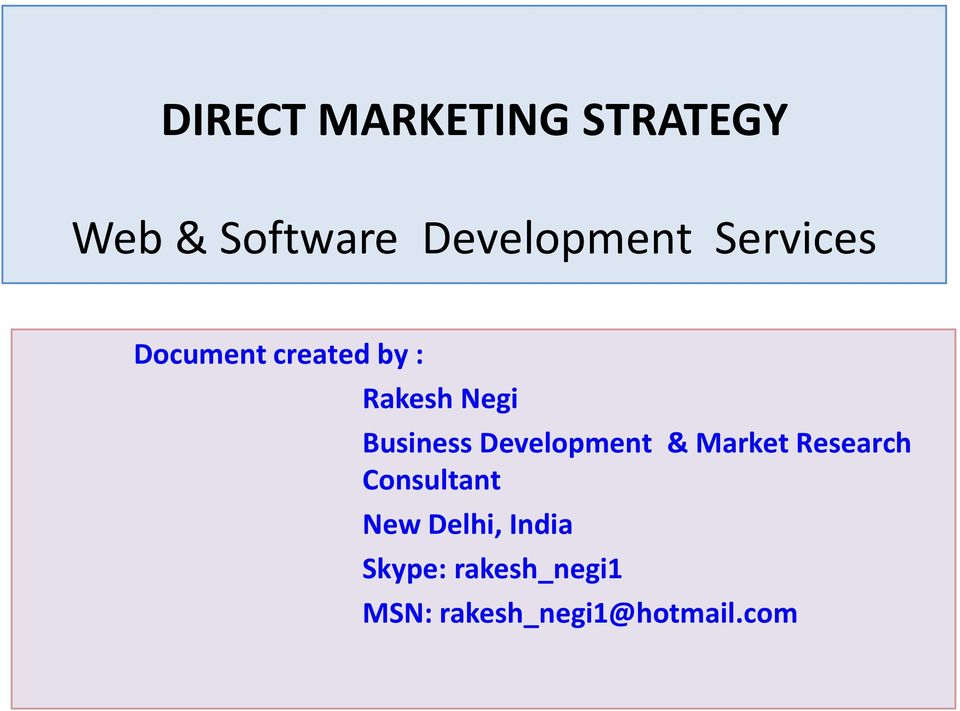 Development & Market Research Consultant New Delhi,