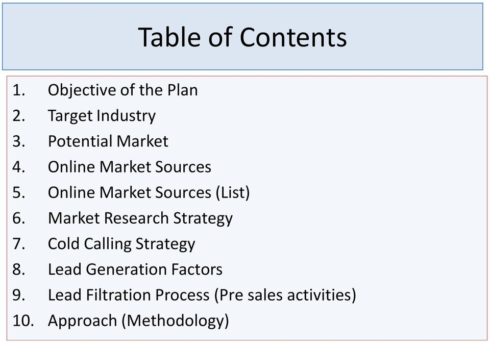 Online Market Sources (List) 6. Market Research Strategy 7.