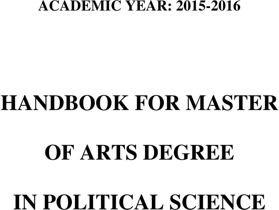 FOR MASTER OF ARTS