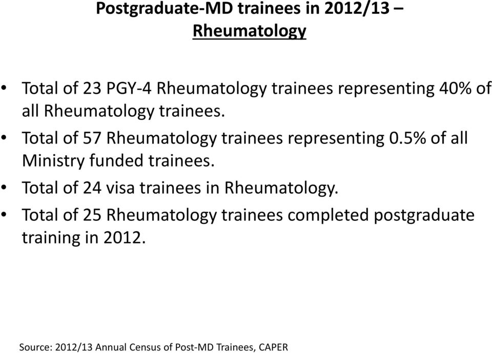 5% of all Ministry funded trainees. Total of 24 visa trainees in Rheumatology.