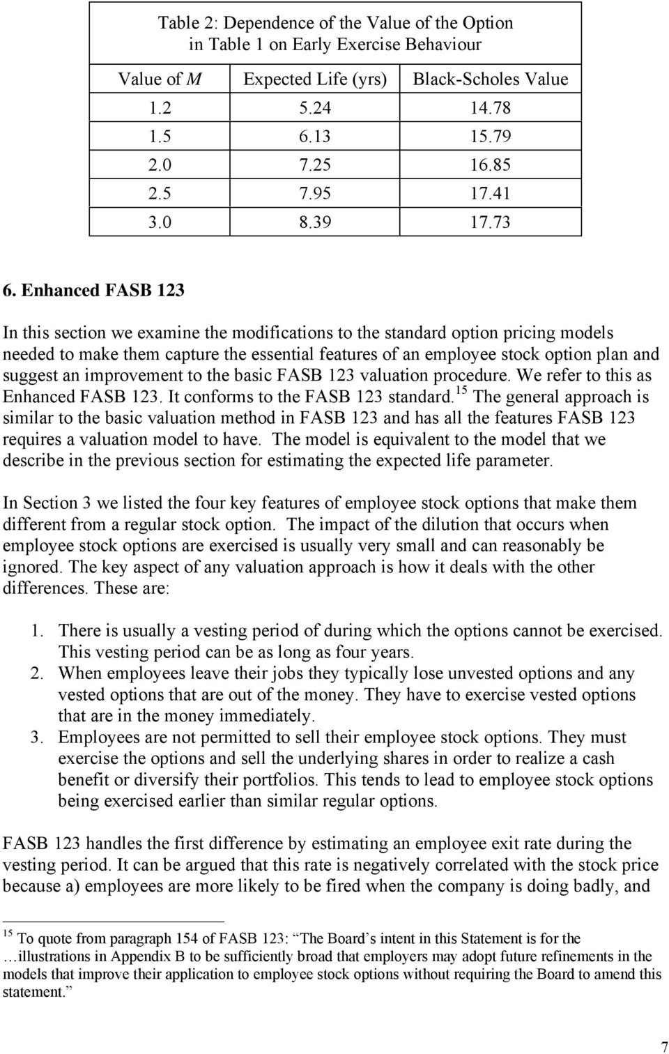 Enhanced FASB 123 In this section we examine the modifications to the standard option pricing models needed to make them capture the essential features of an employee stock option plan and suggest an