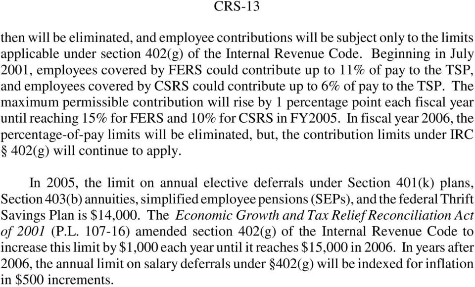 The maximum permissible contribution will rise by 1 percentage point each fiscal year until reaching 15% for FERS and 10% for CSRS in FY2005.