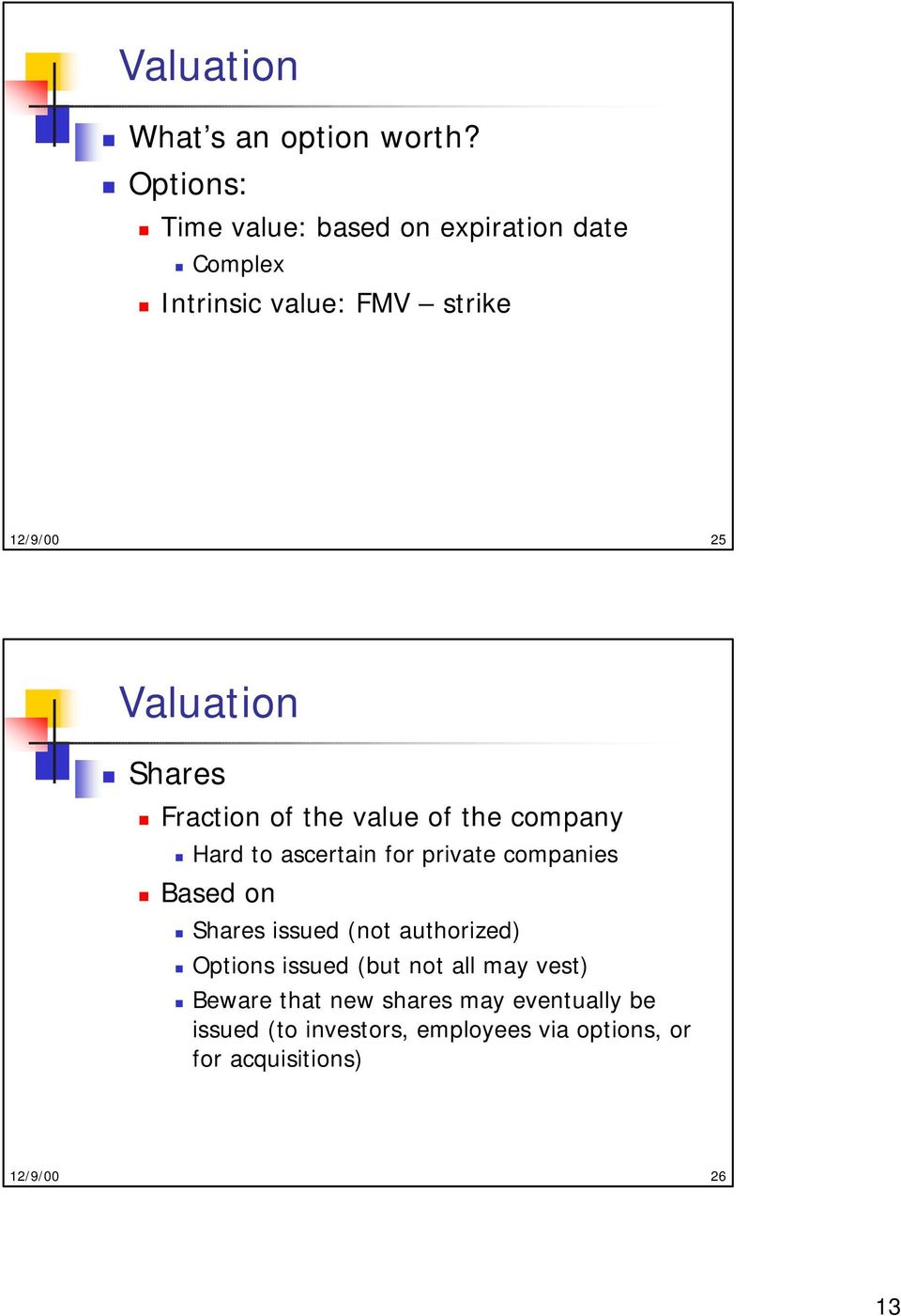 Shares Fraction of the value of the company Hard to ascertain for private companies Based on Shares