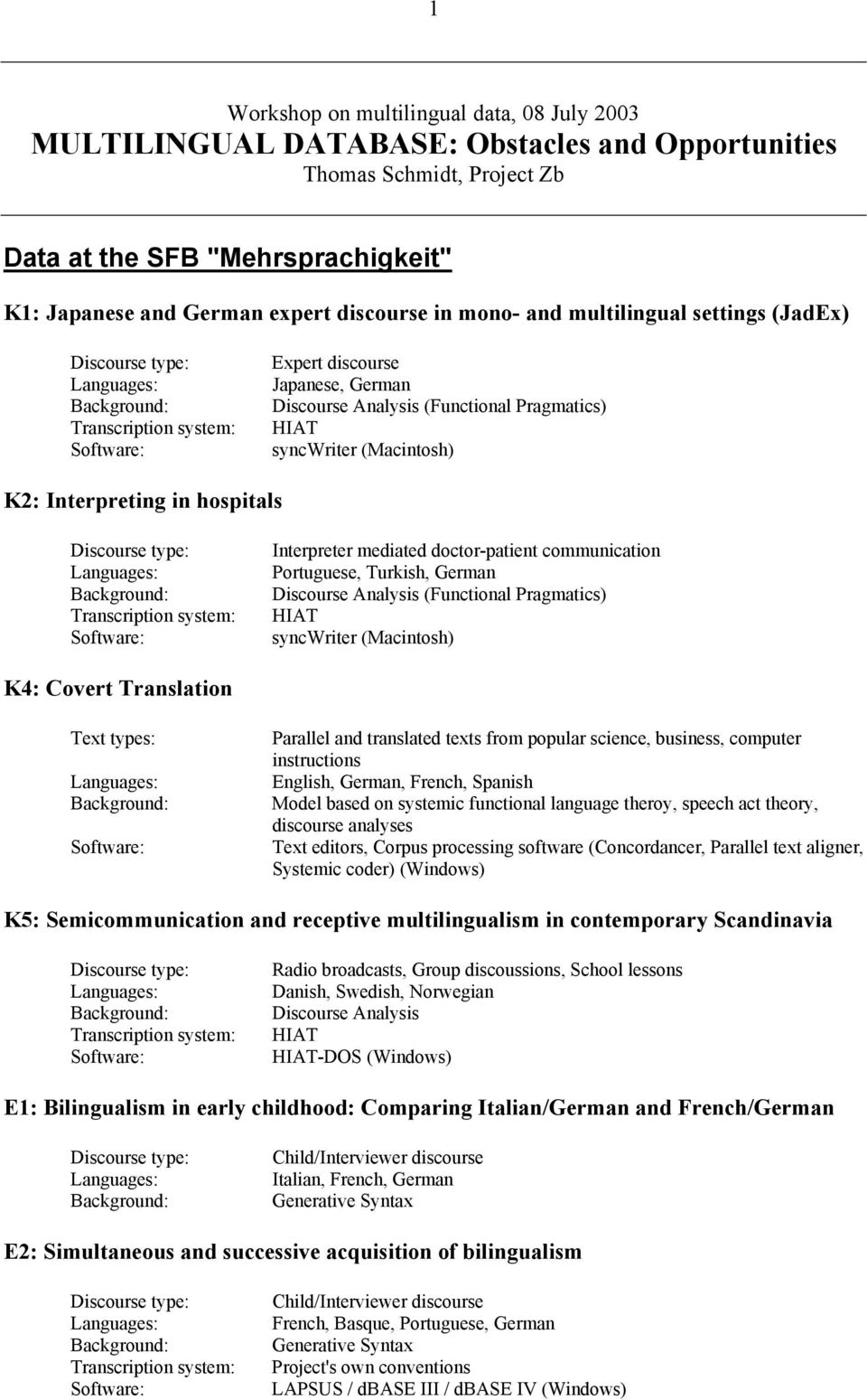 Translation Text types: Parallel and translated texts from popular science, business, computer instructions English, German, French, Spanish Model based on systemic functional language theroy, speech