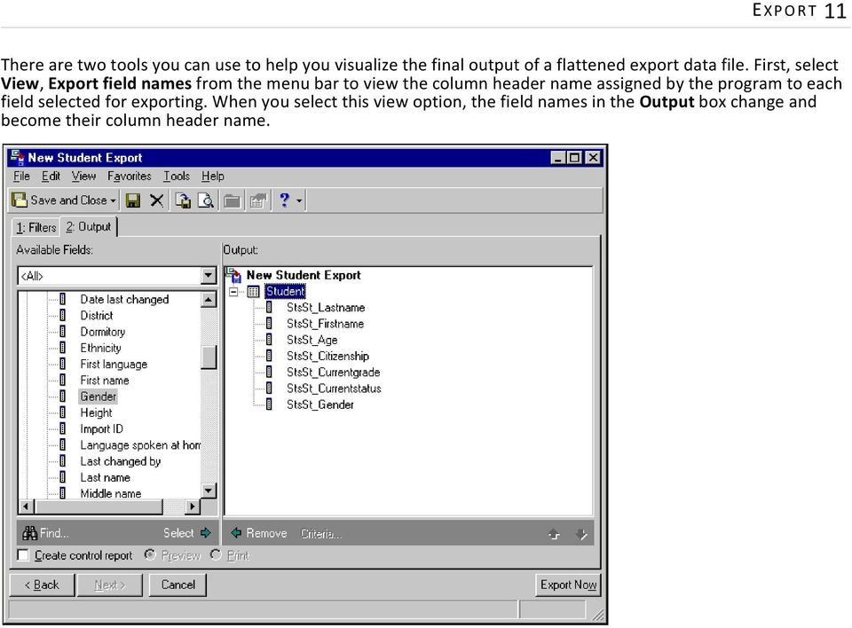 First, select View, Export field names from the menu bar to view the column header name