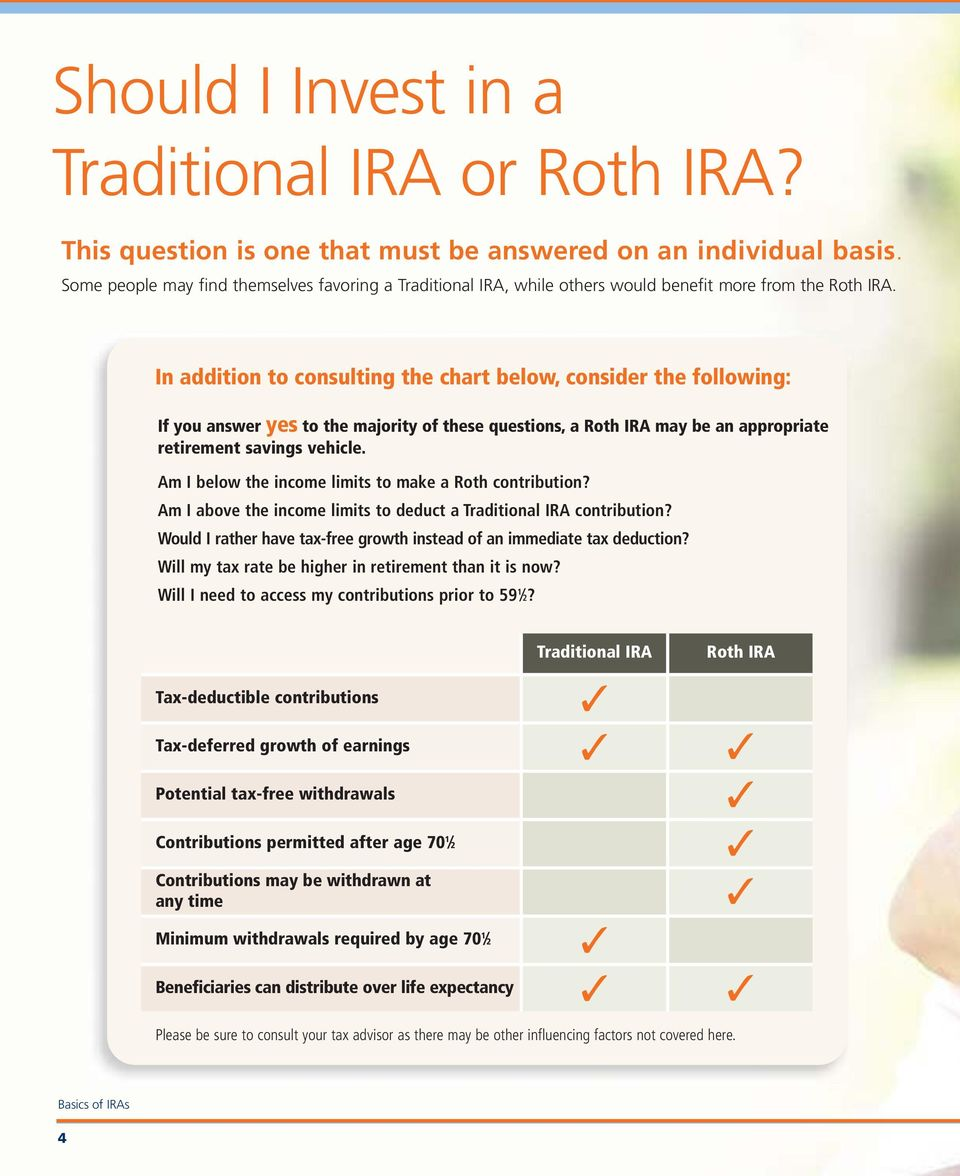 In addition to consulting the chart below, consider the following: If you answer yes to the majority of these questions, a Roth IRA may be an appropriate retirement savings vehicle.