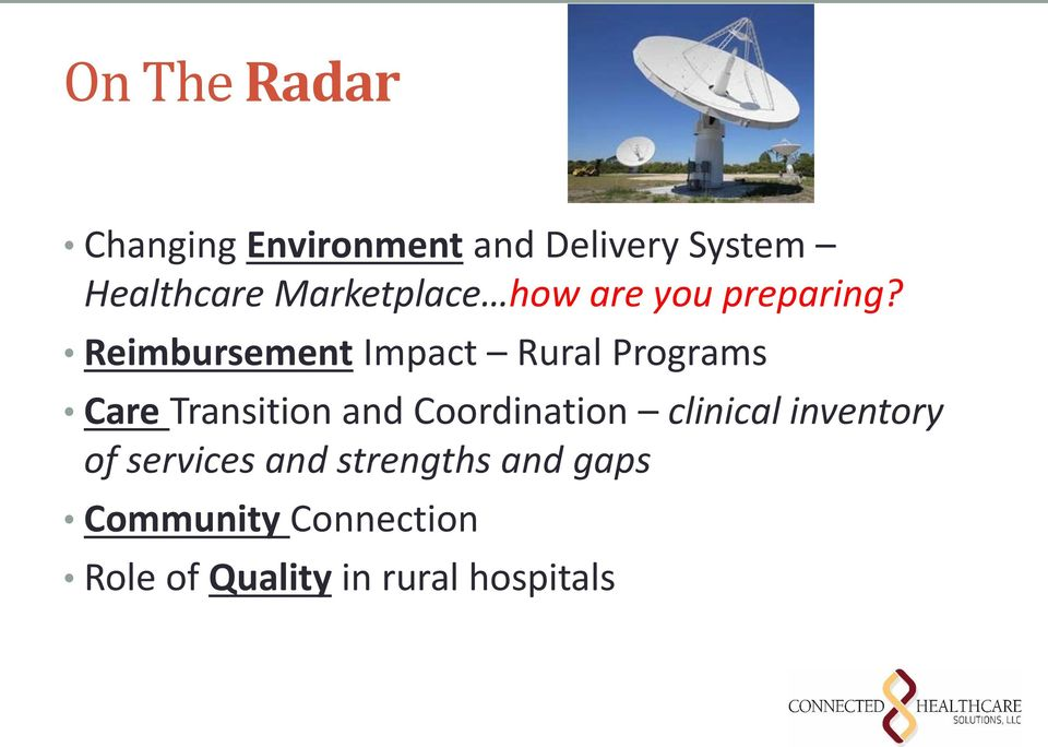 Reimbursement Impact Rural Programs Care Transition and Coordination