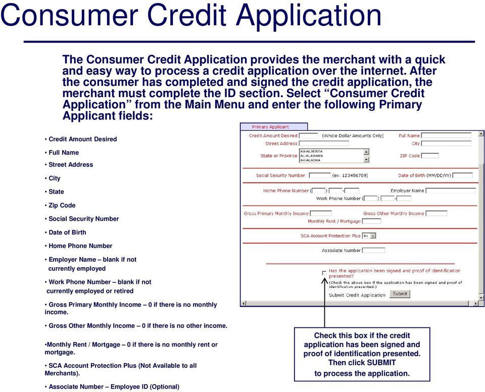 Select Consumer Credit Application from the Main Menu and enter the following Primary Applicant fields: Credit Amount Desired Full Name Street Address City State Zip Code Social Security Number Date