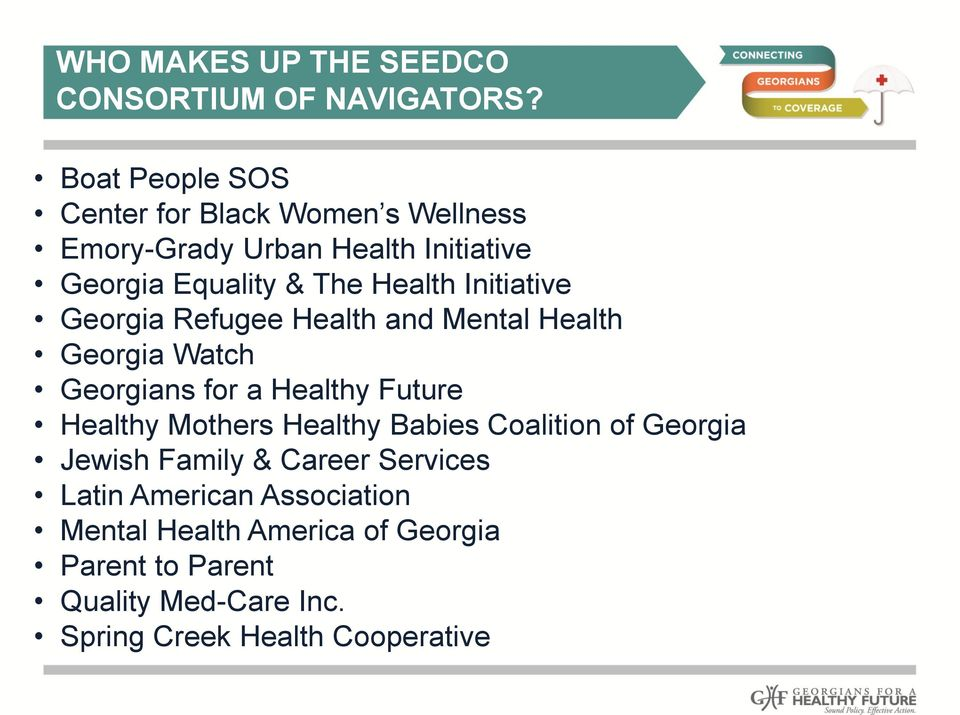 Initiative Georgia Refugee Health and Mental Health Georgia Watch Georgians for a Healthy Future Healthy Mothers