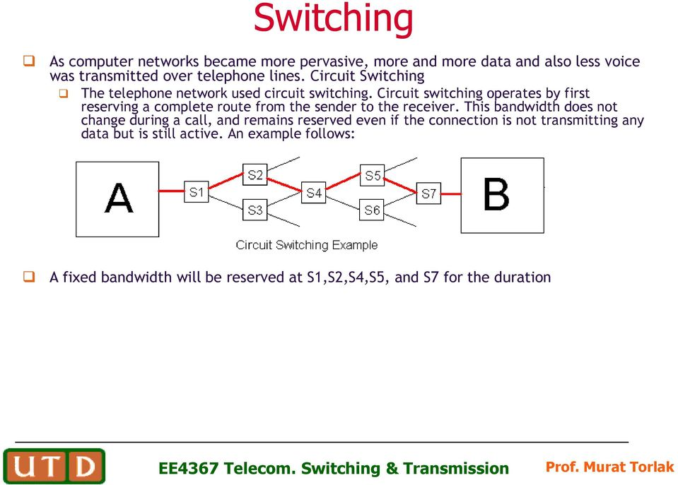Circuit switching operates by first reserving a complete route from the sender to the receiver.