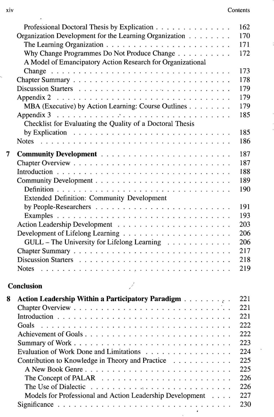 Checklist for Evaluating the Quality of a Doctoral Thesis by Explication 185 Notes 186 7 Community Development 187 Chapter Overview 187 Introduction 188 Community Development 189 Definition 190