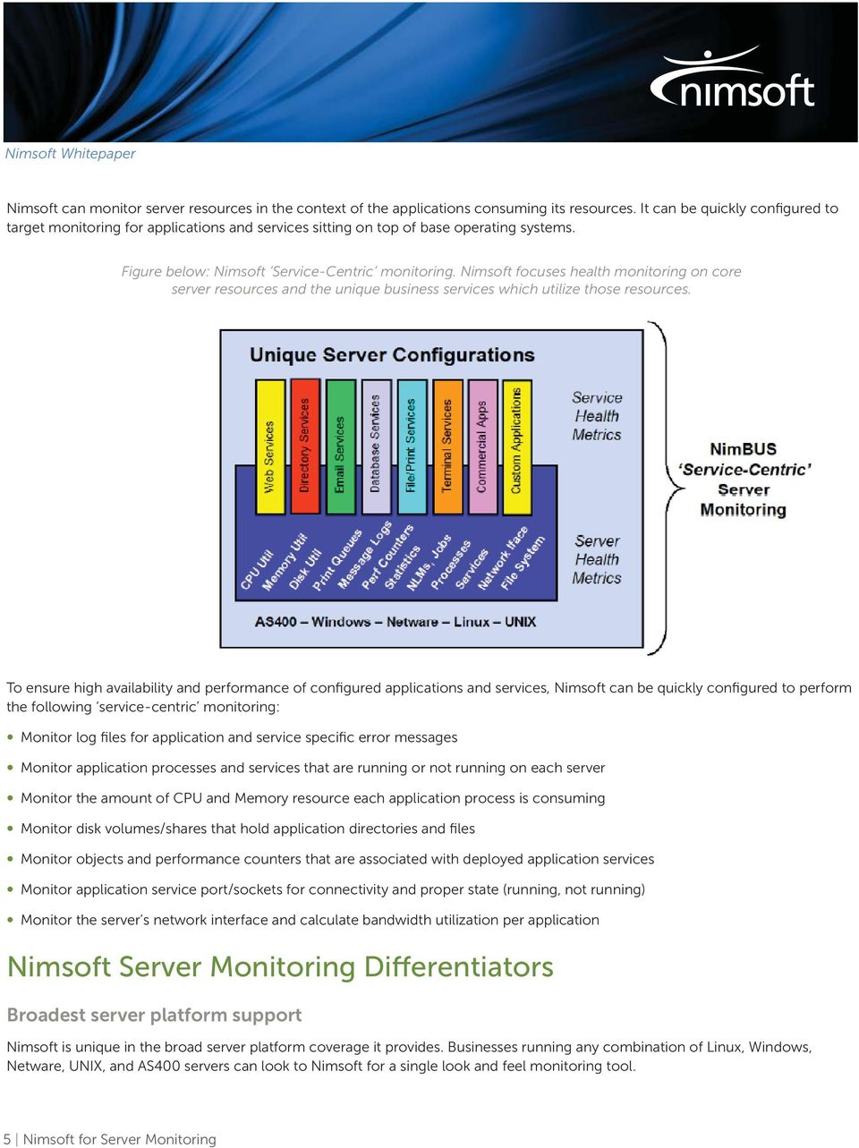 Nimsft fcuses health mnitring n cre server resurces and the unique business services which utilize thse resurces.