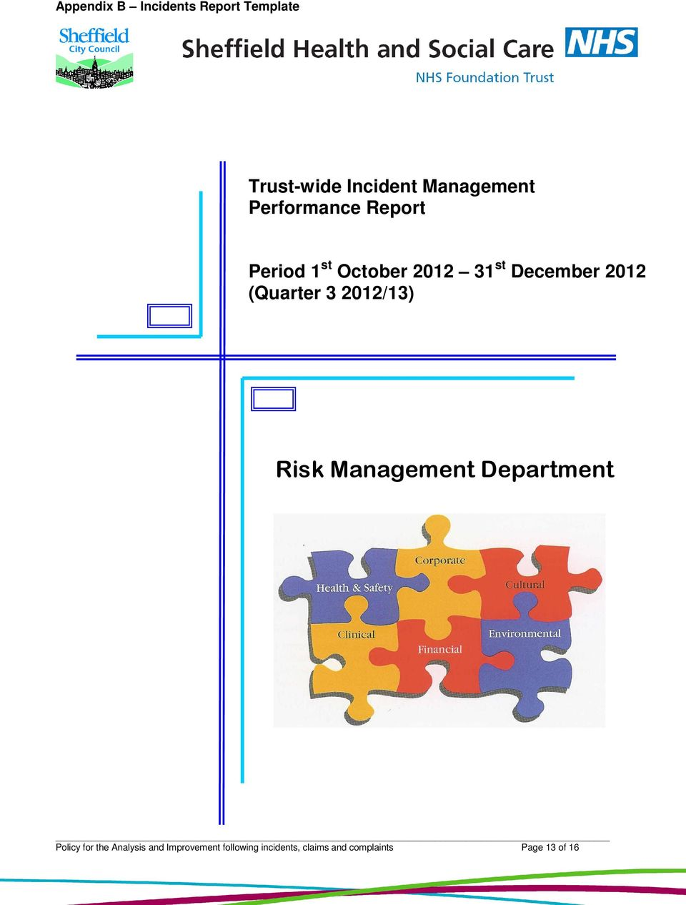 (Quarter 3 2012/13) Risk Management Department Policy for the