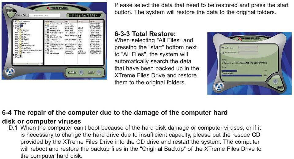 and restore them to the original folders. 6-4 The repair of the computer due to the damage of the computer hard disk or computer viruses D.