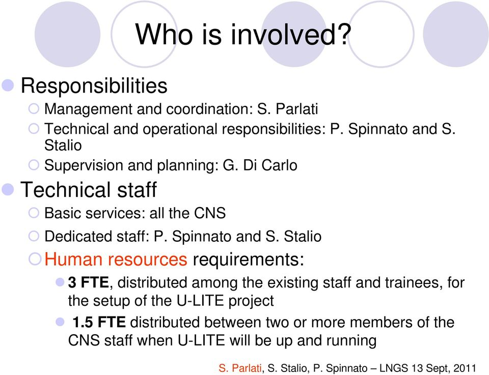 Di Carlo Technical staff Basic services: all the CNS Dedicated staff: P. Spinnato and S.