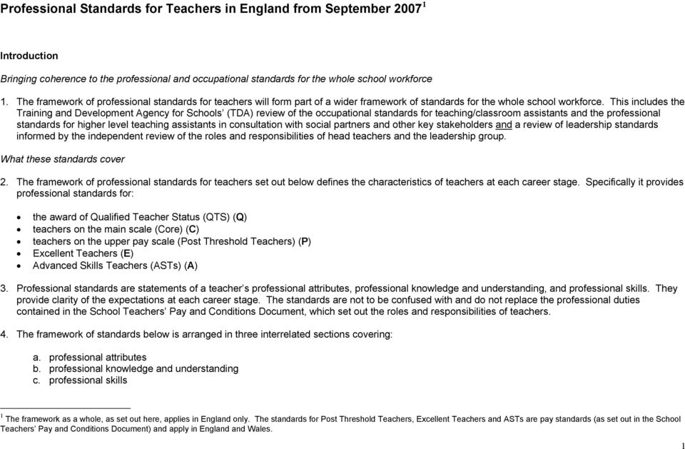This includes the Training and Development Agency for Schools (TDA) review of the occupational standards for teaching/classroom assistants and the professional standards for higher level teaching