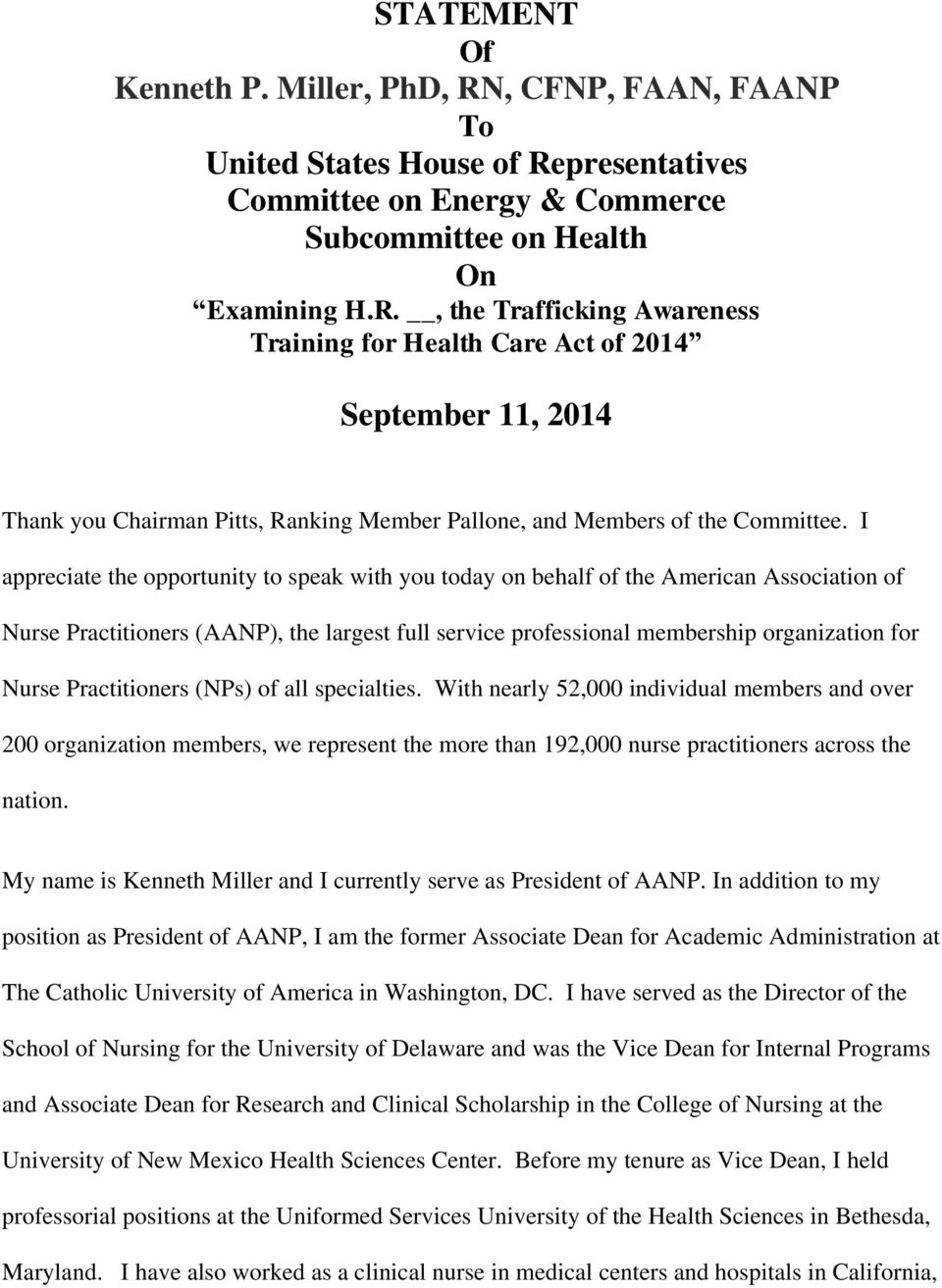 presentatives Committee on Energy & Commerce Subcommittee on Health On Examining H.R.