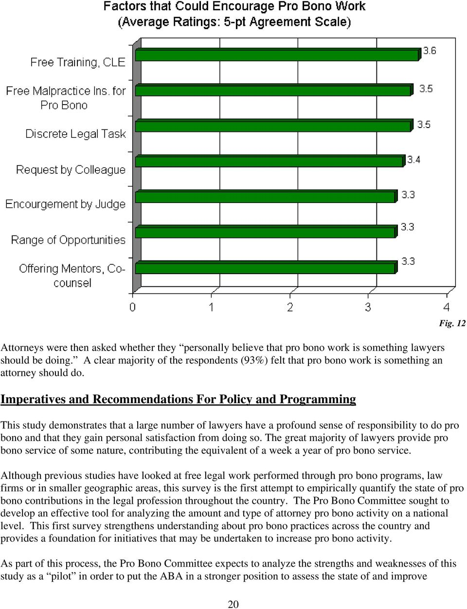 Imperatives and Recommendations For Policy and Programming This study demonstrates that a large number of lawyers have a profound sense of responsibility to do pro bono and that they gain personal