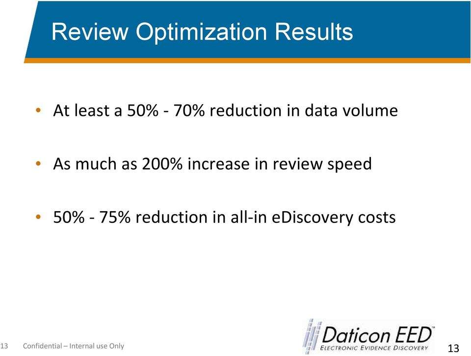 increase in review speed 50% -75% reduction in