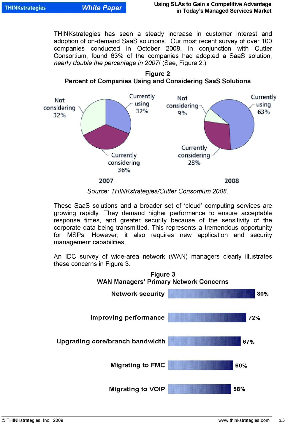 2007! (See, Figure 2.) Figure 2 Percent of Companies Using and Considering SaaS Solutions Source: THINKstrategies/Cutter Consortium 2008.